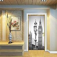 3Dドアステッカー ドアステッカー防水壁紙リビングルーム廊下キッチンの取り外し可能な壁画