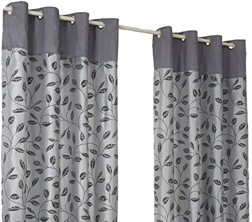 Leaf Trail Flock Grey Ring Top / Eyelet Fully Lined Readymade Curtain Pair 66x72in(168x182cm) Approximately By Hamilton McBride