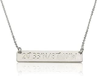 Silver Bar Necklace, Name Bar, Latitude Longitude Necklace, Coordinate Necklace, Personalized Bar,Custom Bar Necklace,Location Necklace