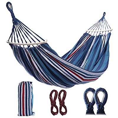 HD-IPC Double Camping Hammock,Portable 2-Person Brazilian-Style Cotton Outdoor Hammock Bed with Carry Bag