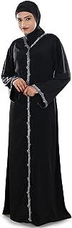 MyBatua Women's Madiha Hand Embroidered Front Open Burqa Abaya in Black