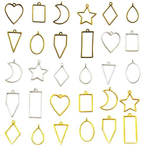 Pendentifs Resine, 30Pcs Bijoux Cadre Pendentif DIY, Moulle Resine Epoxy Pendentif Creux, Pendentifs de Breloques de Rond Triangle Prismatique pour Bracelet Boucles d'oreilles(Aléatoire)