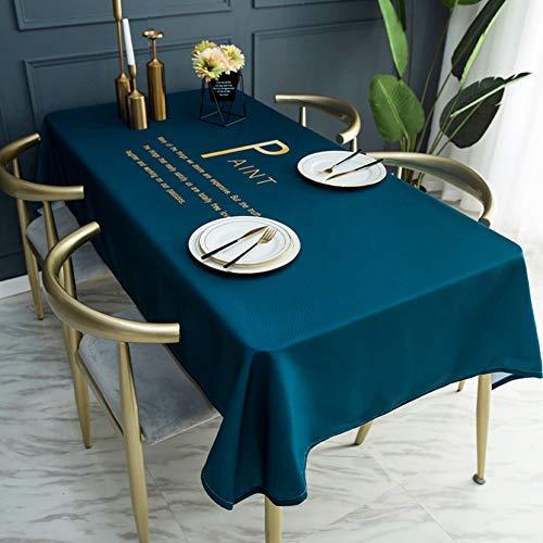Tafelkleed van stof, waterdicht en brandwonden Niet nodig om tafelkleed te wassen, tafelkleed van katoen en linnen,Blue,140 * 260cm