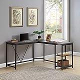 Merax Corner Home Office Wood Laptop Table Study Desk (Black)