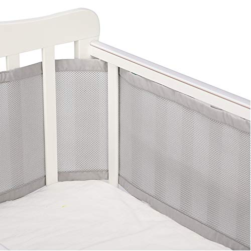 White Breathable Mesh Crib Liner,4-Sided Crib Mesh Liner Baby Nursery Cot Bed Liner Bumper Anti-Collision Children Care Bumper Bumper for Full-Size Crib Breathable Mesh