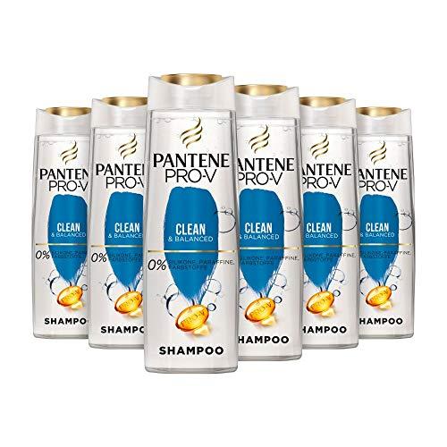 Pantene Pro-V Clean & Balanced Shampoo, 6er Pack (6 x 300 ml), Revitalisiert Das Haar Vom Ansatz Bis In Die Spitzen, Shampoo Damen, Für Schnell Fettende Haare, Haarpflege, Ohne Silikon, Silikonfrei