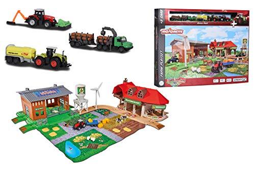 Majorette 212050009 Creatix Big Farm Set, Bauernhof-Spielset inkl. 3 Fahrzeugen + 2 Anhägern, Traktor, Mähdrescher, Holzlader, Die-Cast