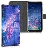 kwmobile Wallet Hülle kompatibel mit LG Q7 / Q7+ / Q7a (Alpha) - Hülle Kunstleder mit Kartenfächern Stand Galaxie Sterne Rosa Pink Dunkelblau