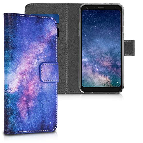 kwmobile Custodia Compatibile con LG Q7 / Q7+ / Q7a (Alpha) - Cover Magnetica Portafoglio con Stand in Simil Pelle - Case Porta Carte - Galassia Rosa/Fucsia/Blu Scuro