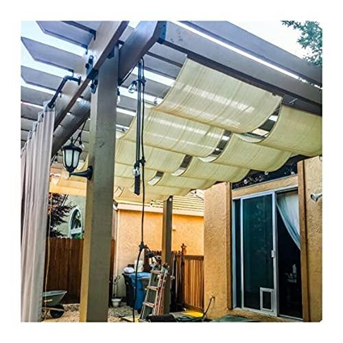 PENGFEI - Toldo retráctil para pérgola, protección solar al aire libre, protección UV, se utiliza para patio, pabellón, porche, jardín, personalización de tamaño (color: beige, tamaño: 3 x 4 m)