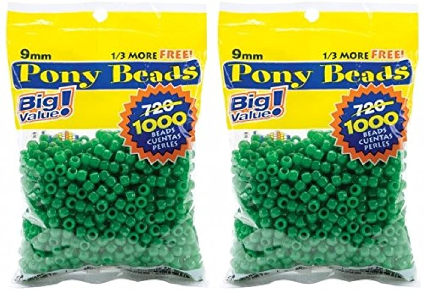 Darice 06121-2-08 Pony Bead Big Value Pack 9mm 1000/Pkg-Opaque Green (2 Pack)