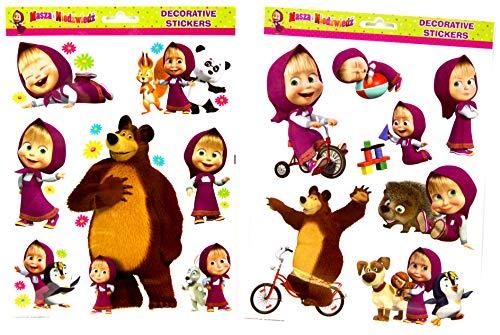 MASHA e l'orso – 14 Mega Decal Sticker – Per Bicicletta/Finestre / Adesivi Murali/Adesivi Paraurti