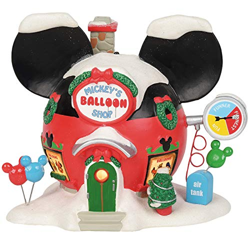 Department 56 Disney Village Mickey's Balloon Inflators Lit Building, 6.75 Inch, Multicolor