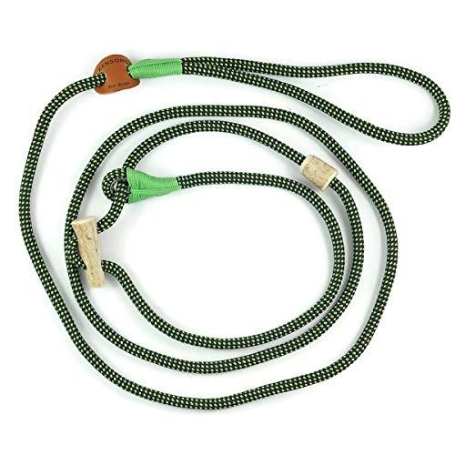 Retrieverlijn neon-groen-zwart/Jachtlijn/Sliplijn/Moxonlijn Elegant | robuuste hondenriem gemaakt van touw met geïntegreerde halsbandje | 6mm | met echte herten hoorn stop