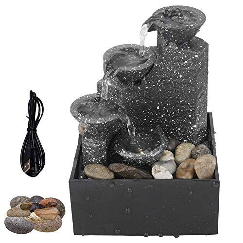 Fuente de Mesa con Luces LED, Fuente de Escritorio de Relajación Zen Portátil con Rocas de Río Naturales, Decoración del Hogar para Dormitorio o Comedor