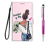 Grandoin für Huawei Honor Play 8A / Y6 2019 Hülle, Handyhülle im Brieftasche-Stil, Handytasche PU Leder Flip Cover Kreative Muster Hülle Magnet Hülle TPU Schutzhülle Lederhülle Hülle (Mädchen)