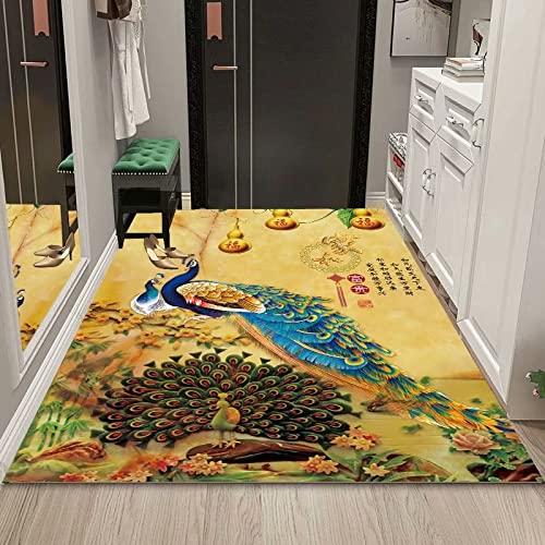 WuTongYu Animal Print Series Alfombra Elefante Fawn Hoja De Arce Patrón De Plumas Alfombra Antideslizante Gruesa Alfombrilla para El Piso Alfombras para Niños Junto A La Cama, Sala De Estar