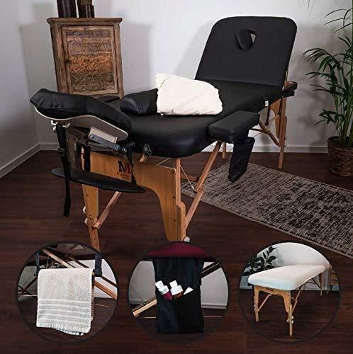 Massunda All - Tumbona de masaje plegable y de altura regulable de madera maciza, mesa de cosméticos móvil con funda de rizo, reposabrazos y respaldo, cojín cervical, reposacabezas ergonómico