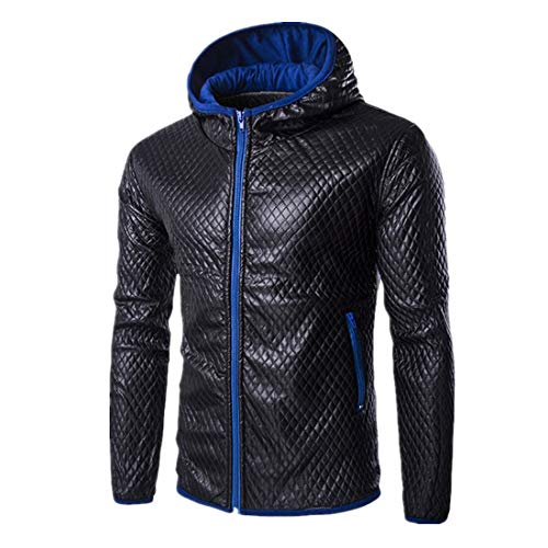 Herren Jacke Windbreaker Herren Jacke übergangsjacke Lederjacke Kunstleder Bikerjacke mit Sweat Zip Hoodie Jacke Herbst Herbst Outwear L