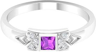 Rosec Jewels - Anillo solitario Kunzite de corte princesa de 3 x 3 mm con trío de diamantes, anillo de compromiso de oro (...