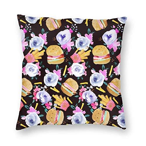 Funda de cojín para sofá de hamburguesas y flores, color negro, 45 x 45 cm