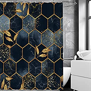 BOLAT Marble Shower Curtain Mould Proof Resistant Washable 71X71'' Bathroom Curtains With 12 Hooks Waterproof,180X180CM (N)