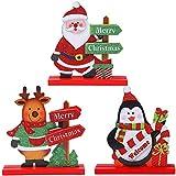 JPYH 3 pcs Adorno De áRbol De Navidad Dibujo Colorido Madera Decoraciones Creativas para áRboles De Navidad Decoraciones De Mesa De Navidad para Aniversario De Boda