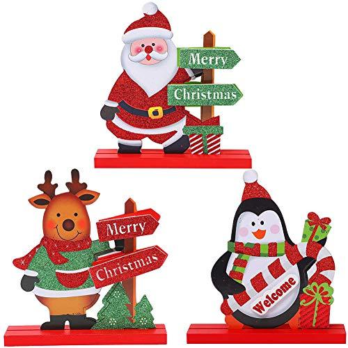 JPYH Addobbi Natalizi, Gift Boutique, 3 Decorazioni Natalizie da tavola per cene, tavoli da caffè, Pupazzo di Neve, Babbo Natale, Renna