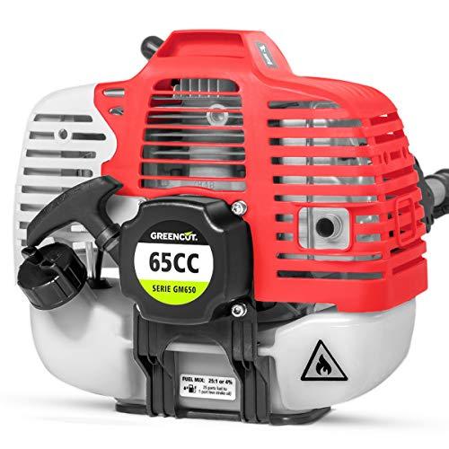 GREENCUT GM650X-6 - Herramienta multifunción 6 en 1 de gasolina de 65cc, 6 accesorios, función desbrozadora + podadora + cortasetos