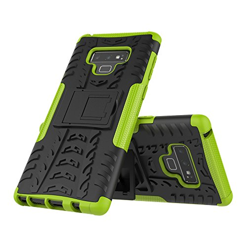 JMstore Funda Compatible con Samsung Galaxy Note 9 +Pantalla Vidrio Templado Combinación A Prueba Choques Carcasa móviles(Verde)