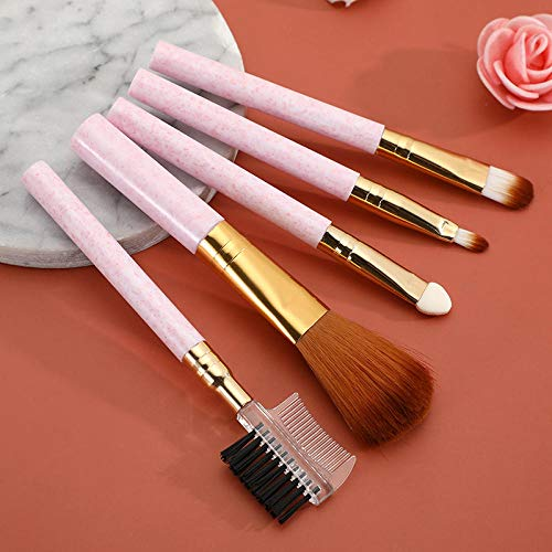 5 packs de pinceaux de maquillage pour débutants barre courte ombre à paupières peigne à cils blush brush outils de beauté portables-Rose