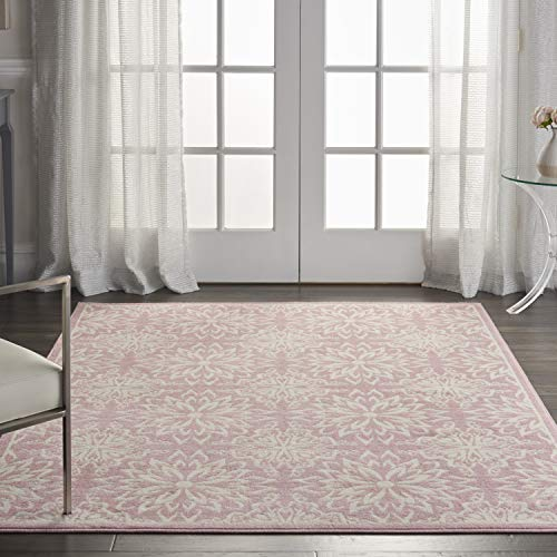 Nourison Jubilant Transitional Floral Ivory/Pink Area Rug, (6' x 9')