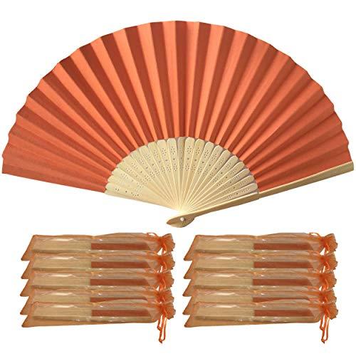 Lot de 10 éventails en papier et tiges de bambou