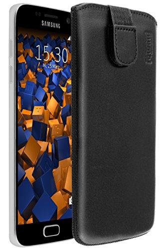 mumbi Echt Ledertasche kompatibel mit Samsung Galaxy S7 Hülle Leder Tasche Case Wallet, schwarz
