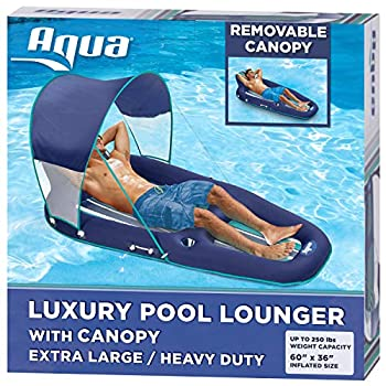 Aqua Oversized Ultimate Pool Lounger Inflatable Pool Float with UPF 50 Sunshade Canopy Heavy Duty X-Large Navy/Aqua/White Stripe