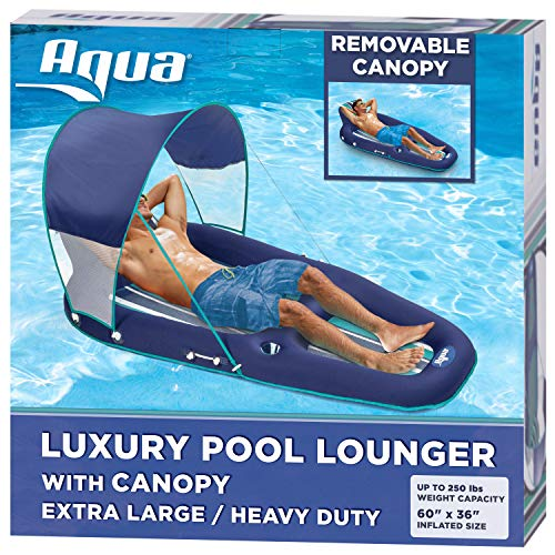 Aqua Oversized Deluxe Pool Lounger, Inflatable Pool Float with UPF 50 Sunshade Canopy, Heavy Duty, X-Large, Navy/Aqua/White Stripe