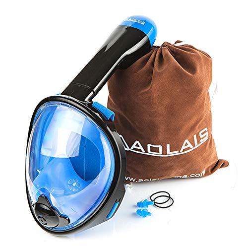 Máscara de Buceo para Niños, Máscara de Snorkel de Cara Completa de 180 ° con Vista Panorámica Antiniebla, para Gopro, Diseño de Snorkel Antifugas con Máscara de Buceo con Cabeza Ajustable