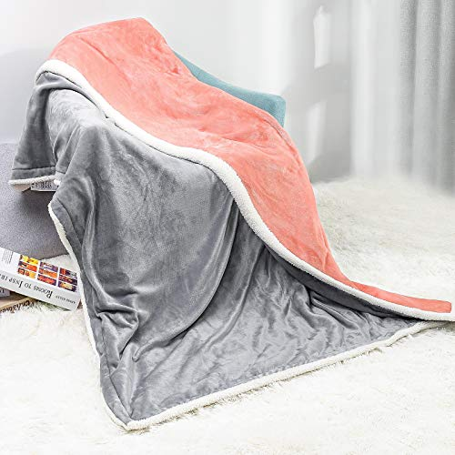 Yorbay Manta Eléctrica Franela 180x130cm XL, 3 configuraciones de engranajes de temperatura y Apagado Automático/Protección Contra Sobrecalentamiento/Desmontable Rosa y Gris