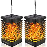 Solar Outdoor Lights, Arzerlize Flickering Flame Solar Lantern Lights Outdoor Garden Waterproof Hanging Lanterns with USB LED Flame Lights Decorations for Patio Deck Yard Pathway Yellow 2Pcs
