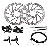 ENticerowts Bike Brake Disc Set Bike AccessoriesBrake CaliperMechanical Disc Brake MTB Bike Cycling Bicycle Front Rear Caliper Rotors Set