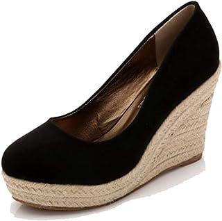 2bf7f75a Zapatos con CuñAs para Mujer Zapatillas De Plataforma Alpargatas  Deslizamiento De Punta Redonda En La Playa