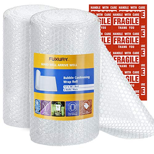 Fuxury Bubble Cushioning Wrap Roll Air Bubble Roll 2 Rolls 72 Feet Total,Perforated Every 12