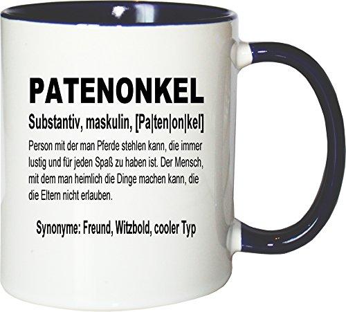 Mister Merchandise Kaffeebecher Tasse Patenonkel Definition Geburt Pate Bruder Schwester Freund Teetasse Becher Weiß-Blau