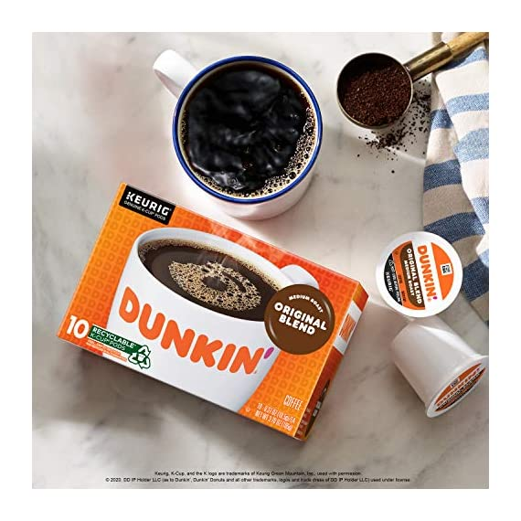 Dunkin' Best Sellers Coffee Variety Pack, 60 Keurig K-Cup Pods 2 Contains 4 boxes of 32 K-Cup pods (128 count total) Original Blend is the coffee that made Dunkin' famous, featuring a rich, smooth taste unmatched by others Medium roast coffee, specially blended and roasted to deliver the same great taste as the brewed Dunkin' coffee available in Dunkin' shops