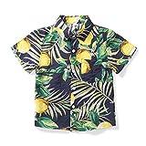 ボタンシャツ キッズ 半袖 可愛い柄シャツ ボーイズ ワイシャツ 男の子 大きいサイズ 子供服 旅行 遊園 祭り おしゃれ 1204Bブルー160cm(JP150cm)