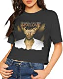 Qhghdgysd Enrique Iglesias Sex and Love Sexy Exposed Navel Female T-Shirt Bare Midriff Crop Top T-Shirts Black,As Pic,Small