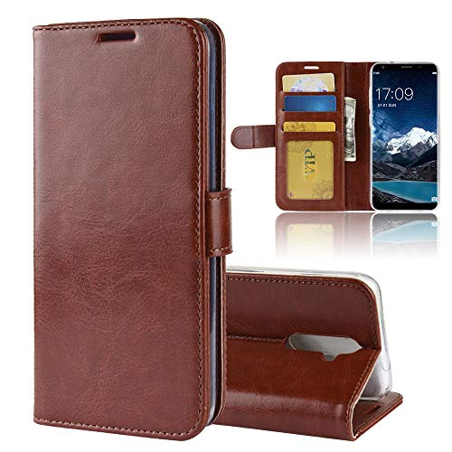 MINGYOUNG Leder Hülle für oukitel K5,Flip Hülle Wallet Stylish mit Magnetisch Ledertasche SchutzHülle für handyHülle fürn Cover (Braun)