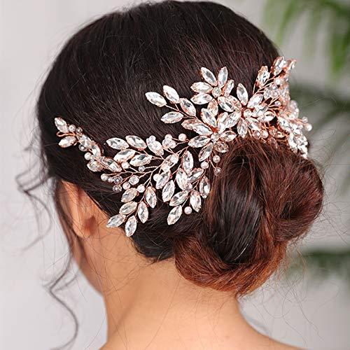 tocados boda,flores pelo,tocados pelo,adornos pelo,peinetas pelo,Tocados de oro rosa, peine de diamantes...
