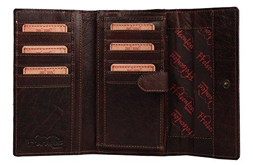 FFelsenfest Vintage Leder Geldbörse Portemonnaie Damen groß   ECHT LEDER   18 x 10 x 4 cm   Viele Kartenfächer vorhanden (espresso)