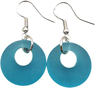 "product image for Handmade in Hawaii, Minimalist Design, Turquoise Bay Blue""December Birthstone"" circle sea glass earrings, (Hawaii Gift Wrapped, Customizable Gift Message)"